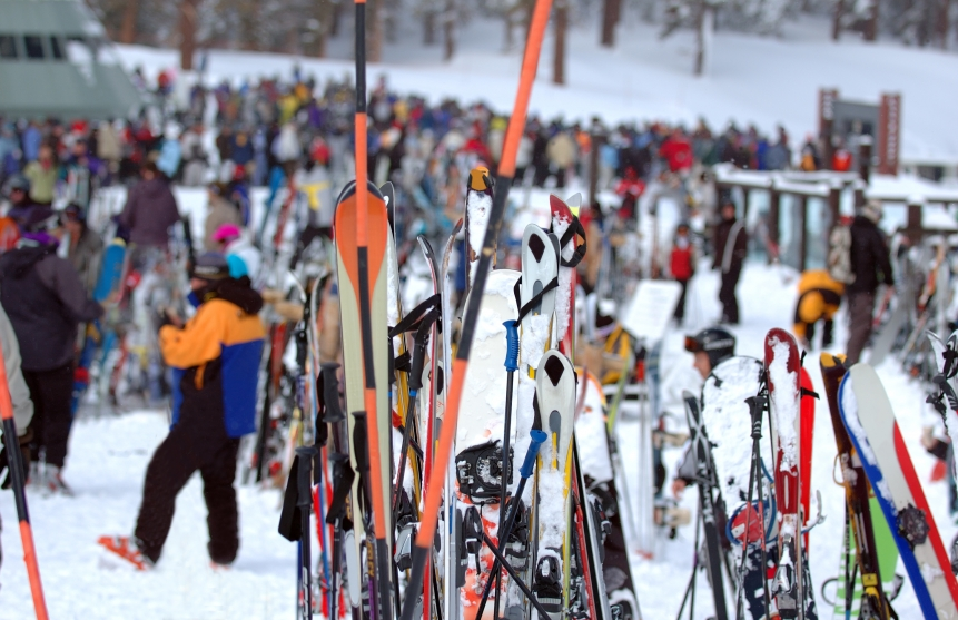 ski rack at a resort