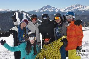 Denver locals skiing.