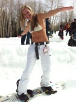 snowboarder in bikini