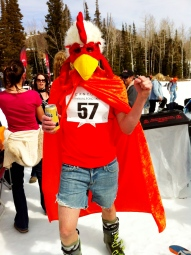 skier dressed as a chicken