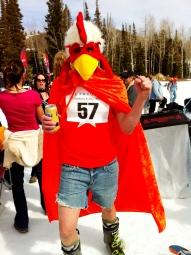 skier dressed as a chicken