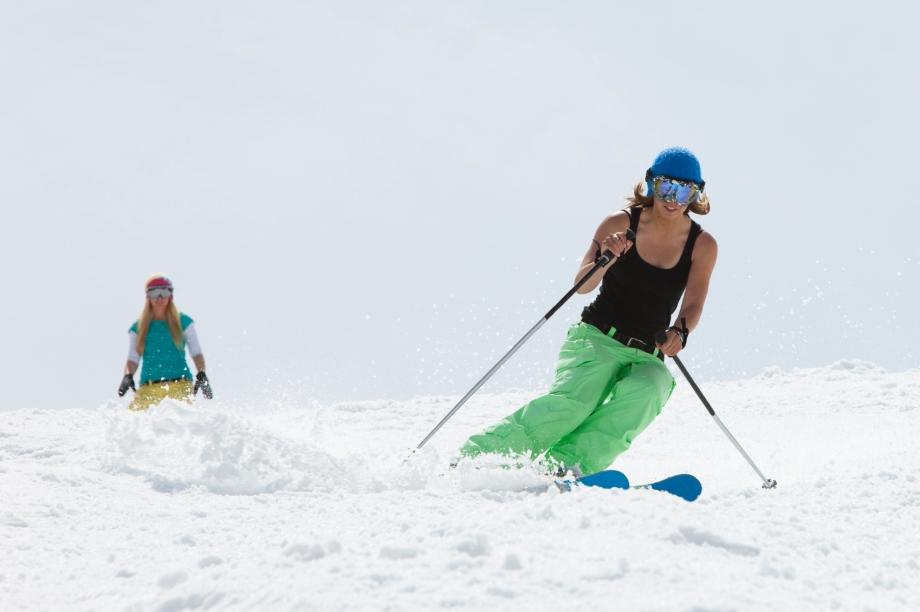 skiing in a tank top