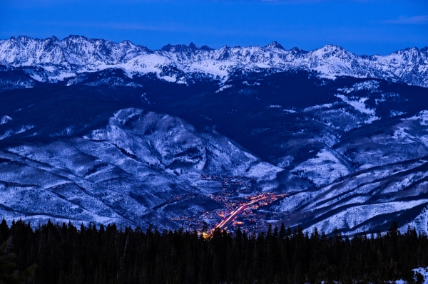 Vail Colorado with Gore Range Mountains at Dusk