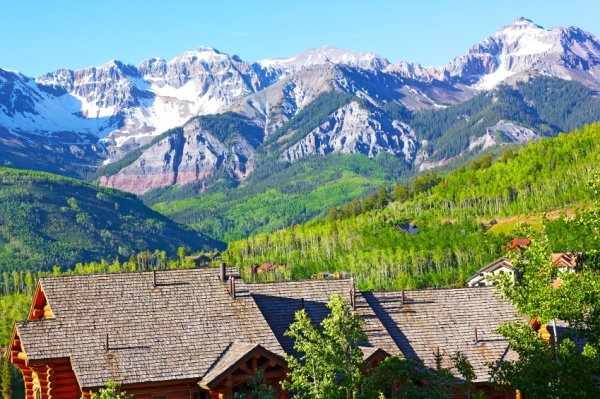 Panorama of Telluride Mountains and houses in Colorado, USA. Telluride landscape on a sunny summer day.