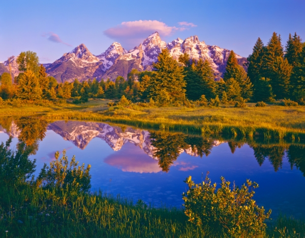 Dawn At Grand Teton National Park With The Reflection Of The Teton Mountain Range