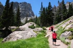 Hiking on the trail leading to Emerald Lake in the Bear Lake region of the Rocky Mountain National Park