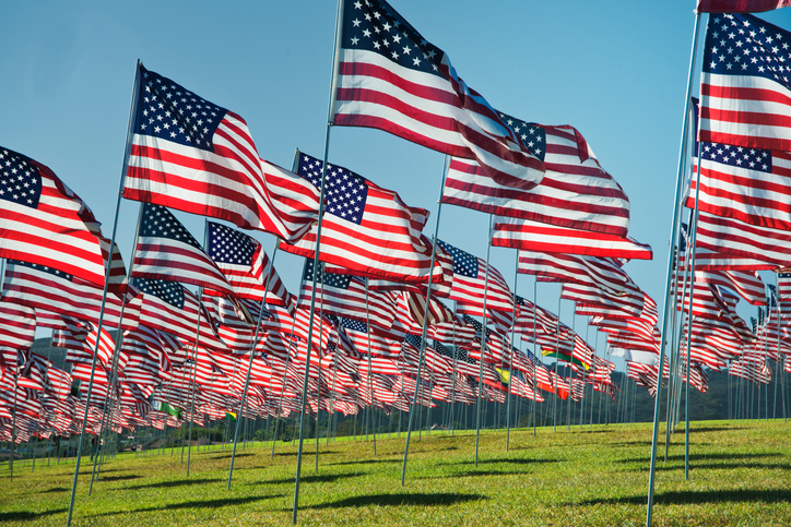 American Flags waving in the breeze
